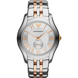 ARMANI Classic 義式時尚羅馬小秒針腕錶-銀x雙色版/43mm AR1824