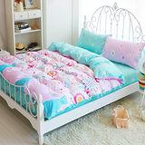 Picasso-花蝴蝶-雙人六件式舖棉兩用被床罩組