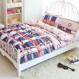 Picasso-牛仔格紋-雙人六件式全舖棉兩用被床罩組