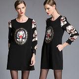 【麗質達人 中大碼】2011A印花蕾絲拼接洋裝2535(XL-5XL)