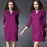 【麗質達人 中大碼】2189紫色七分袖連身裙(XL-5XL)