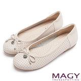 MAGY 甜心女孩 LOGO圓牌蝴蝶結娃娃鞋-粉紅