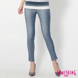 SOMETHING LADIVA窄直筒合身牛仔褲-女-石洗藍