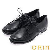 ORIN 懷舊復古學院風 雙色蠟感牛皮粗跟鞋-黑色