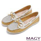 MAGY 休閒舒適 真皮手縫條紋帆船鞋-黃色