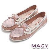 MAGY 休閒舒適 真皮手縫條紋帆船鞋-粉紅
