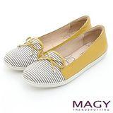 MAGY 休閒舒適 皮革蝴蝶結條紋平底鞋-黃色