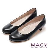 MAGY 氣質OL 嚴選素面真皮舒適粗低跟鞋-黑色