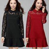 【麗質達人 中大碼】Q3850蕾絲拼接洋裝(XL-4XL)