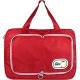 LACOSTE 尼龍收納摺疊購物包/大型-紅色
