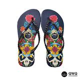 【QWQ】創意設計夾腳拖鞋-The Rose-黑a(無鑽)