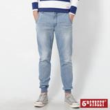 5th STREET JOGGER縮口牛仔褲-男-拔淺藍
