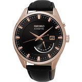 SEIKO Kinetic 日曆人動電能腕錶-黑x玫瑰金框/42mm 5M84-0AB0K(SRN078P1)