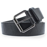 Calvin Klein CK 鋼壓Logo穿式皮帶-黑