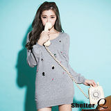 【Shelter Q】珠鑽造型點綴長版針織衫(黑/灰/白/綠)