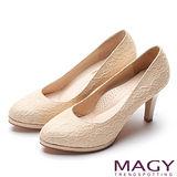 MAGY 低調奢華的美感 性感細緻蕾絲高跟鞋-金色