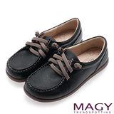 MAGY 樂活休閒 素面縫線鬆緊帶牛皮休閒鞋-黑色