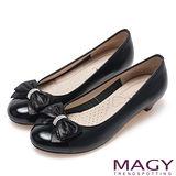 MAGY 甜美混搭新風貌 閃亮鑽飾羊絨蝴蝶結低跟鞋-黑色