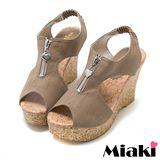 【Miaki】MIT 涼鞋坡跟韓版魚口楔型包鞋 (可可色)
