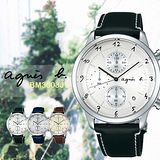agnes b 法國藝術手寫都會風時尚計時腕錶-銀/40mm/VD57-00A0S(BM3003J1)