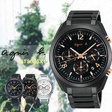 agnes b.時尚三眼計時腕錶-IP黑x玫塊金/42mm VD53-K280C(BT3005X1)
