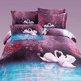 Aileen 花前月鏡 柔絲絨 雙人六件式舖棉兩用被床罩組