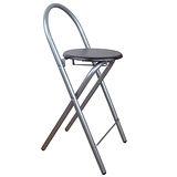 【環球】鋼管高背(木製椅座)折疊-吧檯椅/吧台椅/折疊椅(深胡桃木色)1入/組