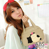 ABS貝斯貓 可愛貓咪手工拼布手提包/提袋 (淺卡其) 88-023