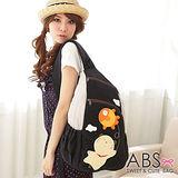 ABS貝斯貓-可愛貓咪手工拼布 單肩背包(典雅黑)88-158