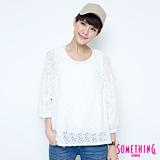 SOMETHING 氣質蕾絲七分袖T恤-女-白色