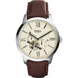 FOSSIL Townsman 城區探索機械腕錶-米黃x咖啡/44mm ME3064