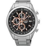 SEIKO 競速巔峰時尚計時腕錶-黑x玫瑰金時標/45mm 8T67-00A0K(SSB199P1)