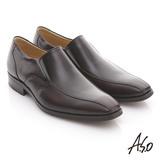 【A.S.O】舒活系列 全真皮撞色鏡面紳士鞋(酒紅)