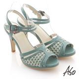 【A.S.O】異域拼盤 渡假感編織高跟涼鞋(綠)