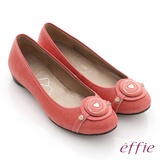 【effie】時尚樂活 絨面壓紋羊皮圓釦平底鞋(粉橘)