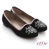 【effie】effie 舒適樂福 絨面羊皮刺繡圖紋平底鞋(黑)
