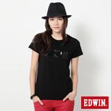 EDWIN 火星塞LOGO短袖T恤-女-黑色