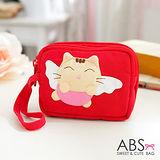 ABS貝斯貓-可愛貓咪拼布包 多層複合功能零錢證件包(活力紅)88-179