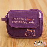 ABS貝斯貓 HaveFun微笑貓咪拼布 雙層複合功能零錢包(葡萄紫)88-178