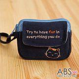 ABS貝斯貓 HaveFun微笑貓咪拼布 雙層複合功能零錢包(海洋藍)88-178