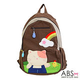 ABS貝斯貓 Rainbow&Cat 拼布雙肩後背包(咖啡) 88-169