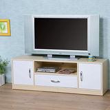 《Homelike》清新森林電視櫃-楓木+白色