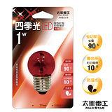 【太星電工】四季光LED球型紅泡 E27/1W/紅光    ANB531R