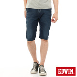 EDWIN 迦績褲JERSEYS單車牛仔短褲-男-石洗綠