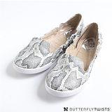 BUTTERFLY TWISTS - JADE可折疊扭轉芭蕾舞鞋-白/蛇紋銀