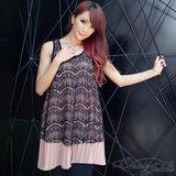 冰沙色浪漫質感蕾絲雪紡背心洋裝-2色-粉