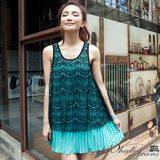 冰沙色浪漫質感蕾絲雪紡背心洋裝-2色-綠