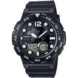 CASIO 赤誠者世界個性地圖雙顯錶(黑) AEQ-100W-1A