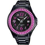 CASIO 閃耀華麗的挑戰時尚腕錶(黑x桃紅框) LX-500H-1B