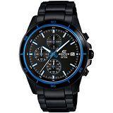 CASIO EDIFICE 疾黑程式碼表計時賽車錶(湛藍x黑) EFR-526BK-1A2